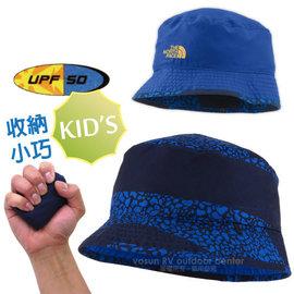 【美國 The North Face】兒童新款 SUN STASH 抗UV遮陽雙面漁夫帽.舒適透氣.吸濕排汗防晒帽/UPF50抗紫外線/A9MZ 怪獸藍多彩
