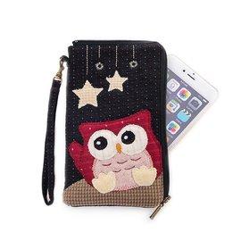Kiro貓•::先染布:: 星星晚安貓頭鷹6吋隨身手機包 ~620043~