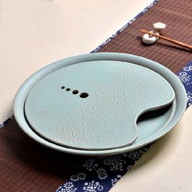 5Cgo~ 七天交貨~ 40837306680 陶瓷茶盤托盤茶海圓形蓄水紫砂茶臺功夫茶具飲