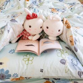 微綠小碎花 雙人加大床包雙人薄被套4件組 純精梳棉  製