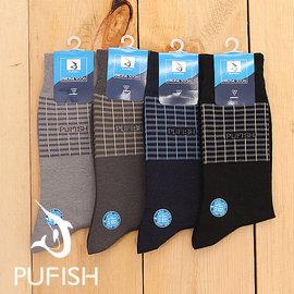 ~PUFISH~2083 寬口條紋紳士襪 休閒襪 6入組 ^(中 半統^) 黑色 丈青 深