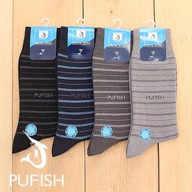 ~PUFISH~2084 寬口條紋紳士襪 休閒襪 6入組 ^(中 半統^) 黑色 丈青 深