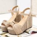 【ALicE】(預購)Y700-0羅馬魅力 波西米亞編織楔型跟涼鞋-杏