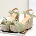 【ALicE】(預購)Y700-4羅馬魅力 波西米亞編織楔型跟涼鞋-綠