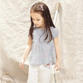 ~捷比 ~MeAnDo米果~JM4152~風琴摺直條紋彩色泡泡印花娃娃款上衣