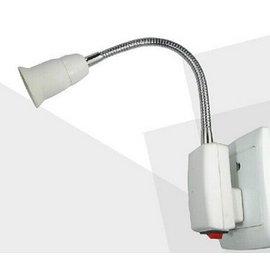 (移動燈泡) E27加長彎管LED燈泡座/燈頭/燈座/小夜燈具 (插頭-帶開關)