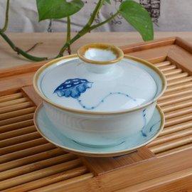 5Cgo ~ 七天交貨~39390559559 手繪青花瓷蓋碗茶杯茶具窯變陶瓷茶碗三才碗功