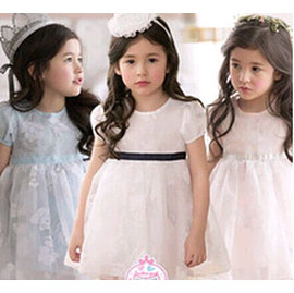 韓典雅蕾絲花朵腰帶式洋裝 上衣裙淺粉 淺藍 白三色款