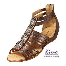 Kimo德國品牌 氣墊鞋.羅馬風繞踝小坡跟涼鞋_蜜糖棕_K15SF056165.真皮.牛皮