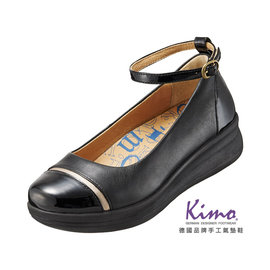 Kimo德國品牌 氣墊鞋.優雅雙色繞踝厚底鞋_氣質黑_K15SF064153.真皮.牛皮.