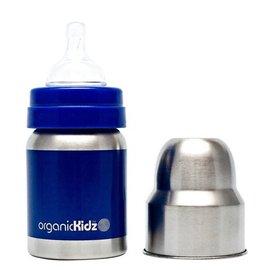 【紫貝殼】『KD01』 加拿大 organicKidz 不鏽鋼保溫奶瓶Organickidz /【寬口徑】4oz 120ml (深藍)