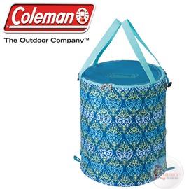 探險家戶外用品㊣CM-21914 美國Coleman 藍葉圖騰萬用魔術桶 彈力筒置物桶垃圾桶RV筒摺疊收納