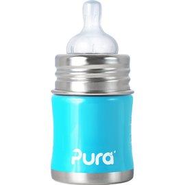 【紫貝殼】『KC01』美國 Pura Stainless Kiki 不鏽鋼奶瓶(寬口徑/藍) 5oz =150ml 不含雙酚A 【保證原廠公司貨】