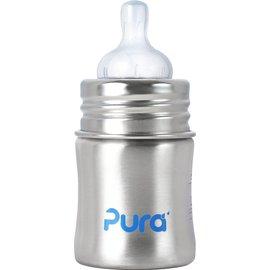 【紫貝殼】『KC01』美國 Pura Stainless Kiki 不鏽鋼奶瓶(寬口徑/銀) 5oz =150ml 不含雙酚A 【保證原廠公司貨】