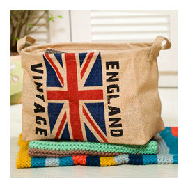 ~微加幸福雜貨小築~ 雜貨 圓型 黃麻 英國國旗 雙耳 收納筐 收納籃 短版洗衣籃 收納盒