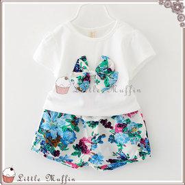 熱帶花卉蝴蝶結兩件式套裝 上衣 短褲 SUM234
