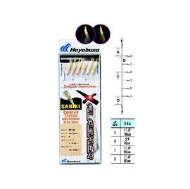 ◎百有釣具◎日本品牌HAYABUSA  EX-111魚皮サヒキ 魚皮鉤 仕掛 規格:14號/16號