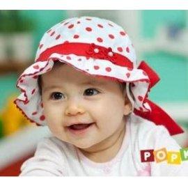 ~春夏寶寶全棉盆帽 嬰幼兒童圓點蝴蝶結漁夫帽子