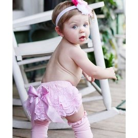 【LJ MALL】美國 RuffleButts  俏麗荷葉包屁褲- 粉粉蕾絲蝴蝶結