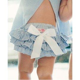 【LJ MALL】美國 RuffleButts  俏麗荷葉包屁褲- 夏日水藍白蝴蝶結