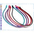 ~POLLY媽~ 緞帶纏繞銀色珠珠金屬細版髮箍^~黑色、紅色、桃紅色、紫色、天空藍