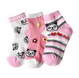 ^~韓風童品^~^(3雙 組^)女童 薄棉襪 兒童棉質網眼襪 熊貓 兔子 愛心圖案 防滑襪