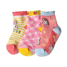 韓風童品  3雙 組 女童 薄棉襪 兒童棉質網眼襪 兔子 菱格圖案 防滑襪 女童襪 短襪