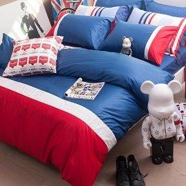 ~OLIVIA ~英式簡約MOD8英國藍X白X紅 雙人特大6X7薄床包薄被套組英式素色系列