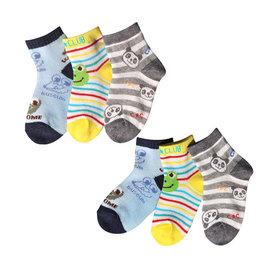 ^~韓風童品^~^(3雙 組^)男童 薄棉襪 兒童棉質網眼襪 小熊 青蛙圖案 防滑襪 男童