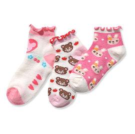 ^~韓風童品^~^(3雙 組^)女童 薄棉襪 兒童棉質花邊網眼襪 小熊 兔子 愛心圖案 防