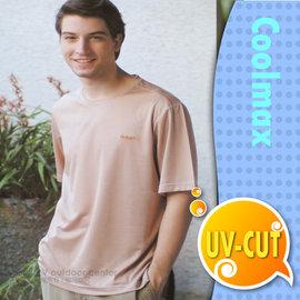 【瑞多仕-RATOPS】男款 輕量透氣圓領短袖T恤.休閒衫.排汗衣/吸濕.快乾.抗UV.降溫.隔熱 / DB7453 磚駝格 V