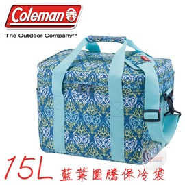 探險家戶外用品㊣CM-22226美國Coleman 15L 藍葉圖騰保冷袋 購物袋保冰袋冰桶冰筒軟式摺疊冰箱 行動冰箱 保冷箱
