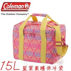 探險家戶外用品㊣CM-22230美國Coleman 15L 紅葉圖騰保冷袋 購物袋保冰袋冰桶冰筒軟式摺疊冰箱 行動冰箱 保冷箱