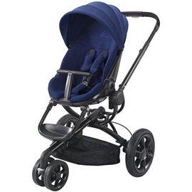 【紫貝殼●舊款新品特價】『GAA05-6+GE34』荷蘭 Quinny Moodd 氣壓式雙向手推車(黑框藍)【加贈:遮陽傘架/原價2000元】