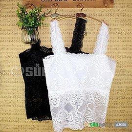 【Osun】蕾絲小可愛背心 百搭蕾絲雙肩-長版 黑 白 #3058 CE-176E