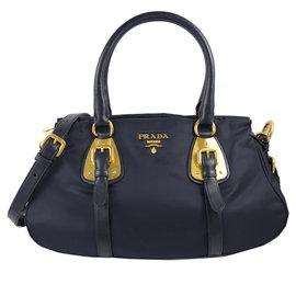 ~  中~PRADA BN2864 浮雕LOGO尼龍皮飾邊手提兩用包.深藍 價 34 80