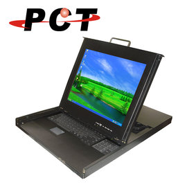 ~PCT~8~PORT雙軌17吋LCD Combo USB   PS2 機架式KVM多電腦