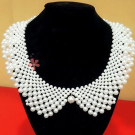 美之札^~FA~007^~復古風珍珠串鍊翻領 假領子飾品