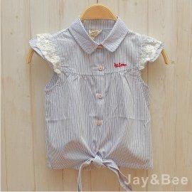 ~捷比 ~DooSun豆山~JD4366~ 感兔耳蝴蝶結衣襬直條紋襯衫~二色