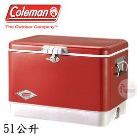 探險家戶外用品㊣CM-03538 美國Coleman 51L 美利紅經典不鏽鋼甲冰箱 (排水孔) 不鏽鋼冰箱保冷箱行動冰箱冰桶冰筒