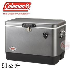 探險家戶外用品㊣CM-03740 美國Coleman 51L 優雅銀經典不鏽鋼甲冰箱 (排水孔) 不鏽鋼冰箱保冷箱行動冰箱冰桶冰筒