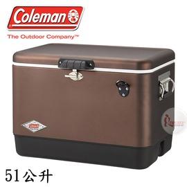 探險家戶外用品㊣CM-03741 美國Coleman 51L 黑咖啡經典不鏽鋼甲冰桶 (排水孔) 不鏽鋼冰箱保冷箱行動冰箱冰桶冰筒