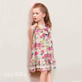 ~捷比 ~DooSun豆山~JD4378~滿版玫瑰印花 花球裝飾雪紡洋裝