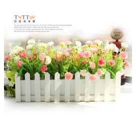 五皇冠家居裝飾品40cm長 迷人康乃馨實木柵欄花仿真花套裝