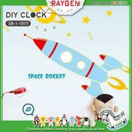 壁貼 夜光創意DIY時鐘卡通貼紙 火箭 可重覆撕貼【HH婦幼館】