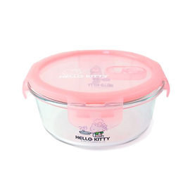 HELLO KITTY 耐熱玻璃保鮮盒710ml (圓形)