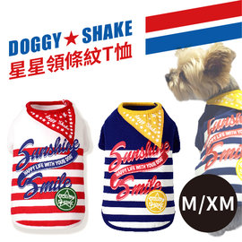 Pet s talk^~ doggy shake 星星領條紋T恤 M XM號