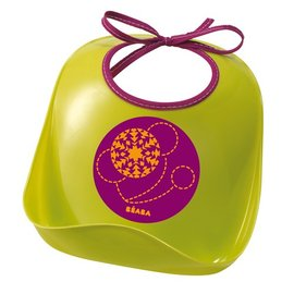【紫貝殼】『BEABA04-2』法國 BEABA 防水兒童圍兜/軟膠防碎屑圍兜(綠)【保證公司貨●品質有保證●非仿品】