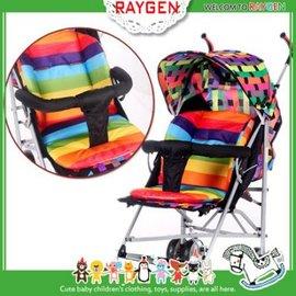 坐墊 加厚防水雙面彩虹條紋嬰兒手推車棉墊 餐椅【HH婦幼館】