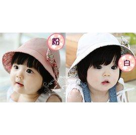 ~小阿霏~女寶寶遮陽帽 嬰兒盆帽漁夫帽 兒童休閒帽子 碎花純棉兩面用 出口韓國精緻原單品